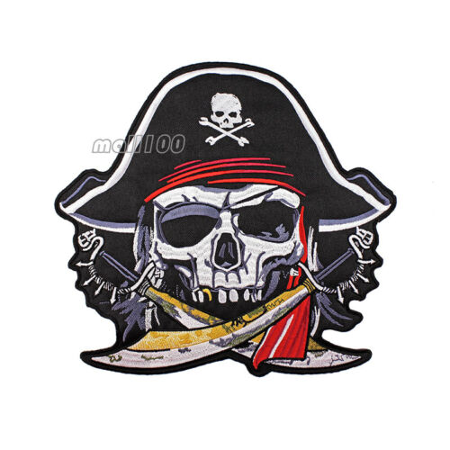 Pirate Skull Cross Sabres Swords Hat Red Turban Skeleton Patch Badge Large Size
