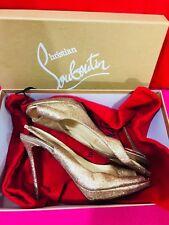 fff11a9d6e0b Authentic Christian Louboutin Gold Glitter Numero Slingback Peep Toe120  Size 40