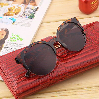 Retro Black Lens Vintage Men Women Round Frame Sunglasses Glasses Eyewear  BI