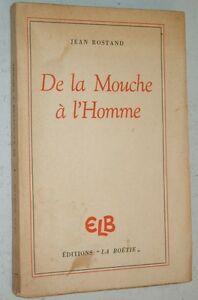 """Jean Rostand DE LA MOUCHE A L'HOMME 1945 sciences hérédité biologie génétique - France - Commentaires du vendeur : """"Voir descriptif."""" - France"""