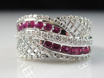 18K Ruby Diamond Ring White Gold Wide Band Fine Jewelry Channel Set Size 6.75