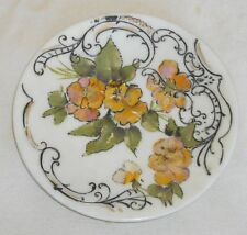 """Victorian Milk Glass Hand Painted Plate circa 1900 Gold Green Pink Black 10"""" Dia"""