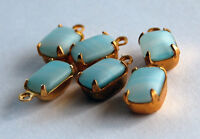 VINTAGE 6 GLASS OCTAGON PENDANT DROP BEADS BEAD 6x8mm CALCEDON BLUE in BRASS
