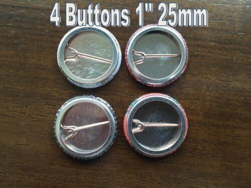 "4 VILLAINS HORROR MOVIES FILMS B Pinbacks Badges Buttons 1/"" 25mm"