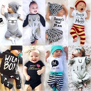 Newborn-Baby-Boys-Girl-Top-Romper-Pants-Hat-Bodysuit-Sunsuit-Outfits-Set-Clothes