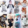 Newborn Baby Boys Girl Top Romper Pants Hat Bodysuit Sunsuit Outfits Set Clothes