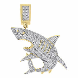 10k yellow gold diamond great white shark jaws pendant 175 mens image is loading 10k yellow gold diamond great white shark jaws aloadofball Gallery
