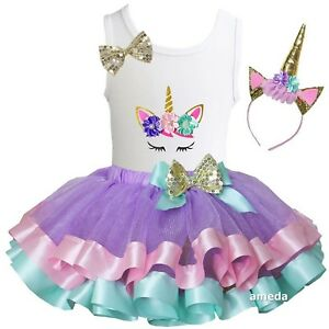 cae48550b061 Details about Girls Gold Pastel Satin Trimmed Tutu & 1st - 10th Birthday  Unicorn Dress Outfit