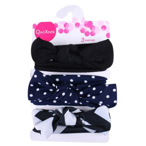 3PC//Set Kids Floral Headband Girls Baby Elastic Bowknot Accessories Hairband Set