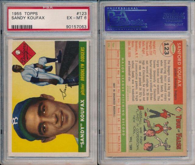 Sandy Koufax Dodgers HOF 1955 Topps Rookie Baseball Card #123 PSA 6 (EX-MT) x063