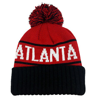ATLANTA Two Tone Pom White//Red Cuffed Bubble Knit Beanie Skull Cap