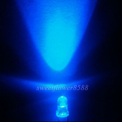 500PCS 3MM Blue 5000MCD Round  Water Clear LED Light