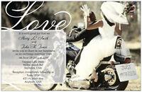 50 100 Motorcycle Harley Love Personalized 5x7 Wedding Invitations Custom