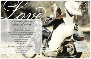 50 100 Motorcycle Harley Love Personalized 5x7 Wedding Invitations