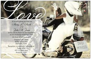 50-100-MOTORCYCLE-Harley-Love-PERSONALIZED-5X7-WEDDING-Invitations-Custom
