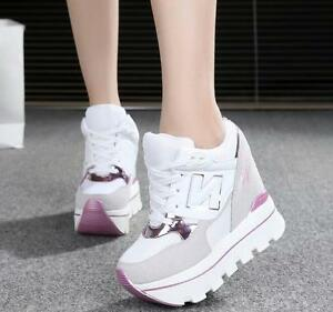42544315c020 Womens Girls Lace Up Hidden Heels Sneakers 12 cm Casual Creepers ...