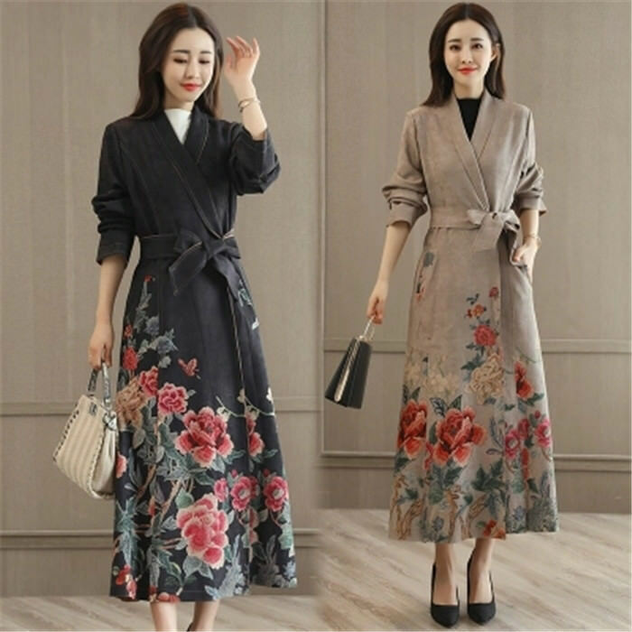 New Ethnic Womens Suede Slim Fit Floral Long Belt Trench Coats Casual Outwear
