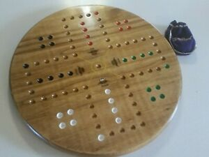 Marble-Game-Board-18-034-Wood-Crown-Theme-with-Marbles-and-Dice