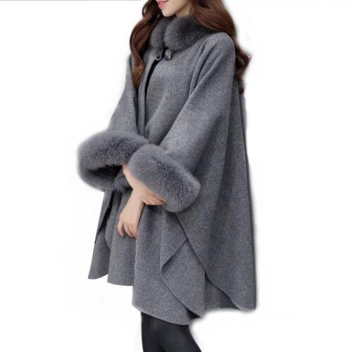 Poncho Winter Shawl Cape Faux Fox Fur Collar Womens Loose Warmer Outerwear Camel