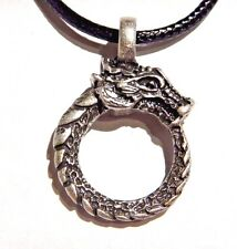 OUROBOROS DRAGON RING PENDANT pewter snake serpent cycle circle necklace Z3
