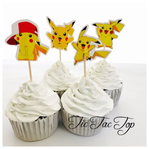 12 x PIKACHU Pokemon Go Cupcake Food TOPPER Pick. Party Supplies Lolly Loot Bag
