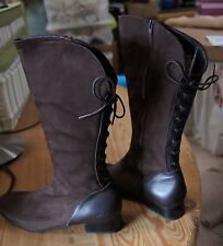 Arche Vero Cafe Knee High Low Heeled Boot Suede And Leather