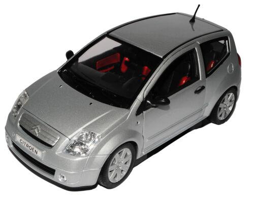 CITROEN c2 ARGENTO 2003-2009 1//18 Welly Modello Auto con o senza individiuelle...