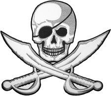 22162 Blue /& Black Skull Crossbones Pirate Punk Biker Embroidered Iron On Patch