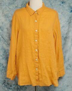 J-Jill-Womens-sz-L-Petite-LP-Orange-Linen-Long-Sleeve-Button-Down-Top