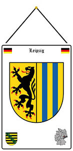 Leipzig Germany Emblem Shield with Cord Metal Tin Sign 20 X 30 CM FA1065-K