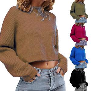 Femme-Col-Rond-Haut-Pull-Tricote-Manche-Longue-Automne-Hiver-Decontractee