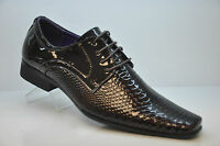 Mens Boys gents smart formal wedding black shiny shoes sizes 6 7 8 9 10 11