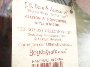 CHERISH CHARITY COLLECT FOR LIFE 2005 BOYDS BUNNY ALLISON B.HOPPLEBUNS #640004'