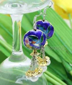 Big-18mm-Round-Blue-Cloisonne-amp-6-7mm-White-Natural-Pearl-Dangle-earring-ear525