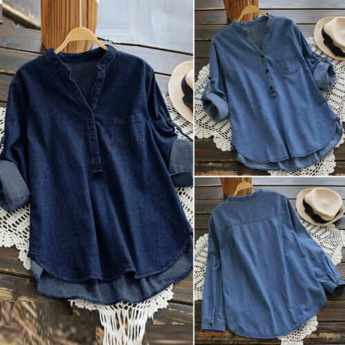 Girls Denim Blue Asymmetrical Long Shirt Tops Casual Buttons Blouse Large Size