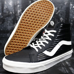 bacb68f4b8 VANS SK8 HI MOTO LEATHER BLACK BLANC DE BLANC MEN S SKATE SHOES ...