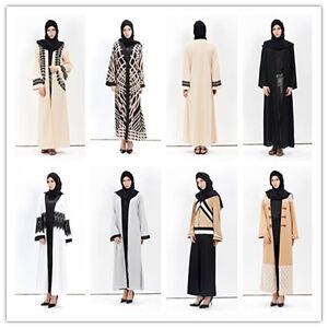 Dubai Cardigan Muslim Top Maxi Dress Open Abaya Jilbab farasha Burkha Jubah Arab
