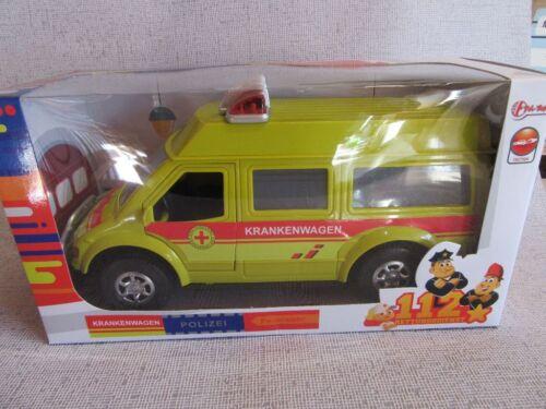 Krankenwagen Transporter aus Kunststoff mit Rückzugmotor 26x10x13 cm neu OVP