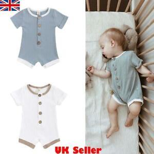 UK Newborn Infant Baby Girls Boys Clothes Romper Jumpsuit Bodysuit Outfit Summer