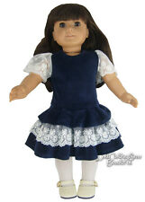 """Navy Velvet & Ivory Lace Dress for 18"""" American Girl Samantha Doll Clothes"""