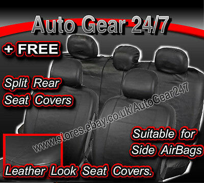 Seat Covers Alaska Black Leather Look Airbag OK Car Split Rear Steering Pads