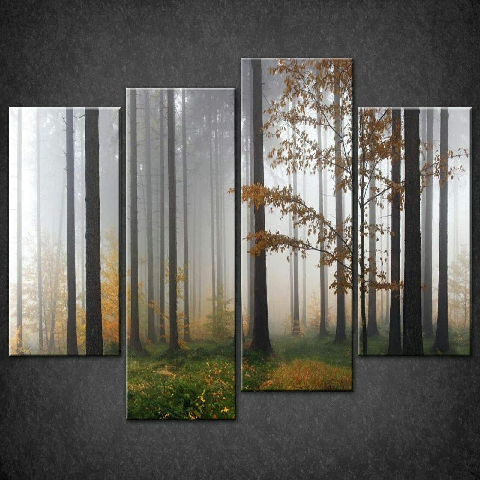 MIST IN FOREST MODERN DESIGN CANVAS PRINT PICTURE WALL ART FREE FAST DELIVERY