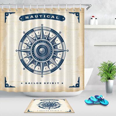 Waterproof Shower Curtain Nautical Compass Bathroom Bath Curtain Mat w//12 Hooks