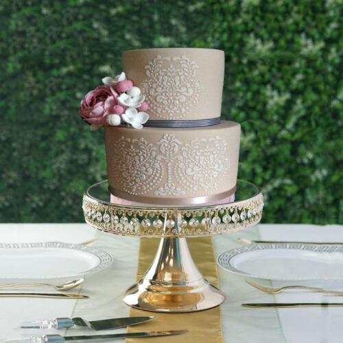 """11/"""" Round x 8/"""" Tall Gold Mirrored Top Bling Beaded Cake Stand Centerpiece"""