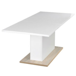 high gloss dining table white top oak pole extendable pull