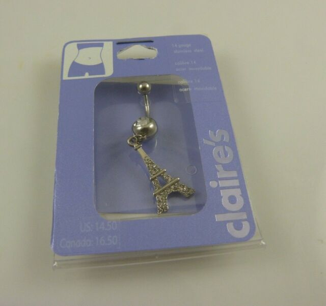 bling crystal Eiffel tower  belly button ring, piercing, body jewelry