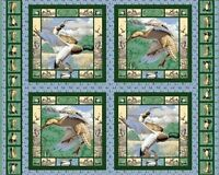 4 Mallards In The Marsh Pillow Panels Fabric Cotton Wildlife Ducks