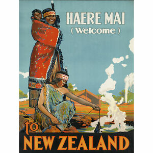 New-Zealand-Maori-Haere-Mai-Welcome-Vintage-Travel-Advert-Large-Canvas-Art-Print