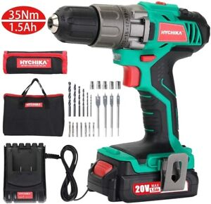 HYCHIKA Cordless Drill Driver Kit 20V Max Drill Set ScrewDriver LED with Battery
