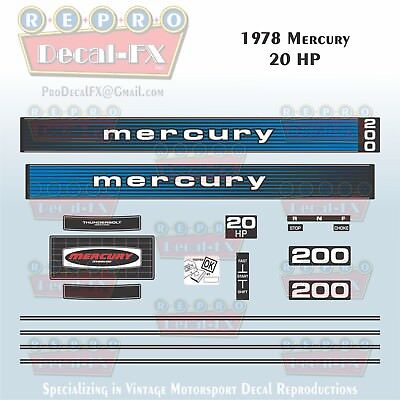 1980-81 Mercury 20 HP Outboard Reproduction 17 Piece Marine Vinyl Decal 200